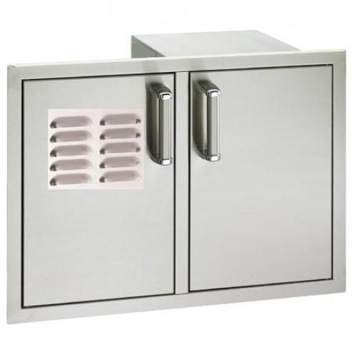 "FireMagic 53930SC-12T 20 1/2"" x 30"" Flush Mounted Double Access Door w/ Tank Tray, Louvers & Dual Drawers"