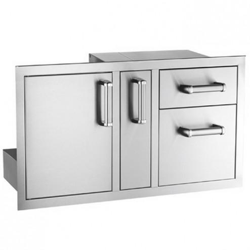 FireMagic 53816SC NEW  Flush Stainless Steel Access Door w/ Platter Storage & Double Drawer