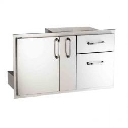 American Outdoor Grills 18-36-SSDD Door with Double Drawer & Platter Storage