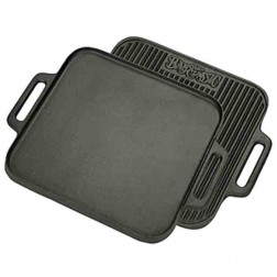 """Bayou Classic 7442 14"""" Cast Iron Reversible Square Griddle"""