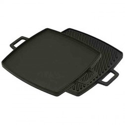 """Bayou Classic 7444 Cast Iron Reversible Square Griddle/Grill 10.5"""" x 10.5"""""""