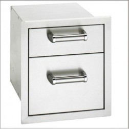 "FireMagic 53802SC 15 3/4"" x 14 1/2"" Double Drawer Flush Model"