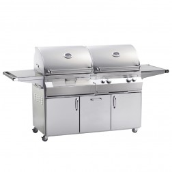 FireMagic A830s-6LAN-61-CB Aurora NG & Charcoal Cart Grill w/Rotisserie