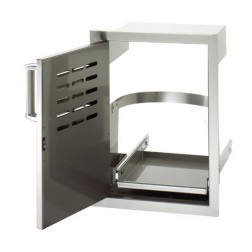 "FireMagic 53820SC-TL 20 1/2"" X 14"" Flush Mounted Single Access Door w/Tank Tray & Louvers LEFT"