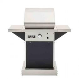"TEC Patio FR Series 26"" LP Pedestal Grill-Black w/shelves"
