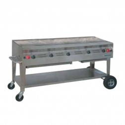 "Flagro Silver Giant 60"" Commercial Nat-Gas Barbecue Grill"