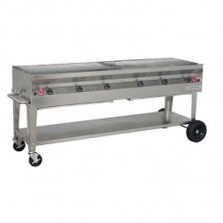 """Flagro Silver Giant 72"""" Commercial Nat-Gas Built-in Barbecue Grill"""